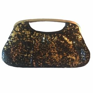 Express Gold and Black Sequin Clutch Evening Bag
